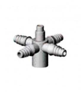 Conector Roscado de 4 salidas para microtubo 3x5. 10 uds.