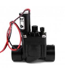 """Electroválvula de riego PGV-100G-B9V 1"""". RH. PVC. con solenoide de 9V y regulador de cau"""