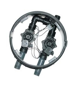 Arqueta con 2 electroválvulas HUNTER con salida a tubería de 25 mm.