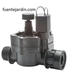 "Electroválvula 9 VDC 155 1"" M x tuerca loca con regulador de caudal. RAIN"