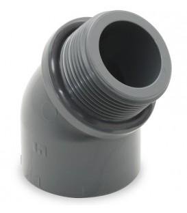 "CODO PVC 45º ENCOLAR R / M 32-1"" con junta tórica."