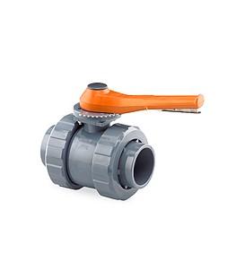 Válvula de bola PVC encolar Ø 125mm. Paso Total gatillo
