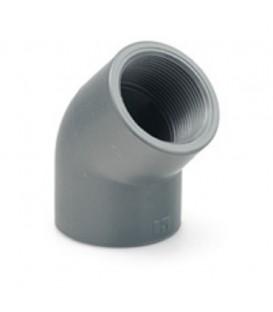 "Codo PVC 45º Encolar Rosca Hembra 50x1 1/2"""