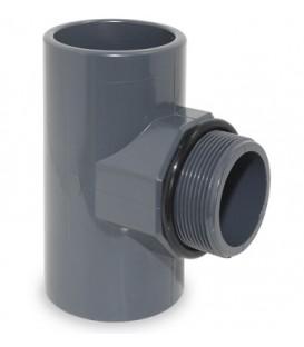 """TE 90º PVC presión mixto 63X2"""" RM con junta"""