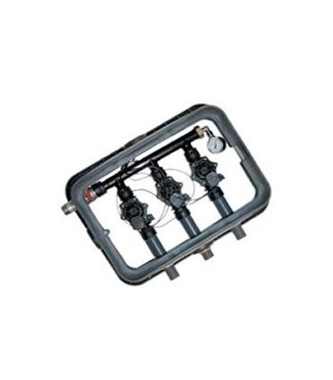 Arqueta con 4 electroválvulas RAIN con salida a tubería de 25 mm.