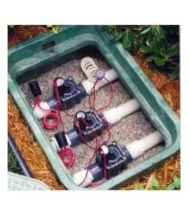 Arqueta para riego con 4 electroválvulas Hunter